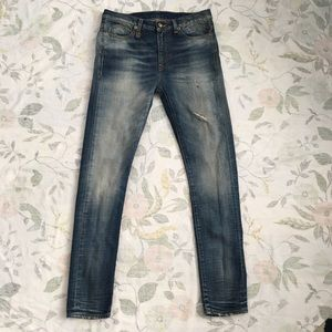 R13 Women's Jeans Slouch Skinny Distressed Jeans